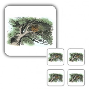 Coaster Set: The Cheshire Cat in a Tree