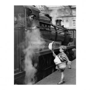 ANO020 Boy + Train Driver at Waterloo Station, 1931
