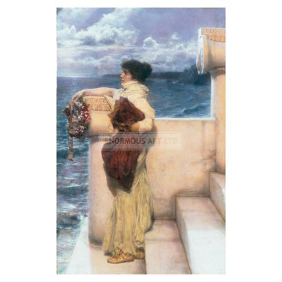 2-M120-H13-1898-1 (332203)  'Hero'  Alma-Tadema, Sir Lawrence 1836-1912. 'Hero', 1898. Oil on panel, 39.3 x 24.7cm. New York, Sotheby's. Lot 74, 23/5/89.