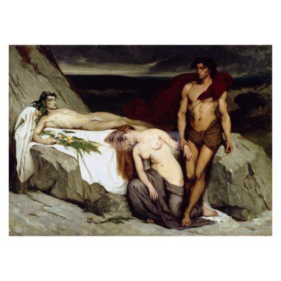 2-M200-A1-1859-1 (328138)  'The Death'  Alma-Tadema, Sir Lawrence 1836-1912. 'The Death' (Der Tod), um 1859. Öl auf Leinwand, 200 x 290 cm. Kunsthandel London, Sotheby's, 28.November 1990, Lot 26.  E: 'The Death'  Alma-Tadema, Sir Lawrence 1836-1912. 'The Death', c.1859. Oil on canvas, 200 x 290cm. London, Sotheby's. Lot 26, 28/11/90.