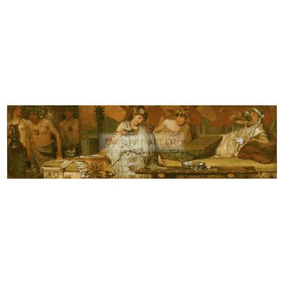 2-G60-G2-23 (199390)  'The dinner (Greek)'  Alma-Tadema, Sir Lawrence 1836-1912. 'The dinner (Greek)', Opus CXI, S 153, 31st March 1873. Oil on wood, 16.5 x 58.5cm. Walthamstow, William Morris Gallery.