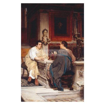 2-G60-A4-1865-1 (324394)  L.Alma-Tadema, A Chat or The Disclosure  Alma-Tadema, Sir Lawrence 1836-1912. 'A Chat' or 'The Disclosure'. Oil on panel, 42.5 x 27cm. No date. London, Sotheby's. Lot 131, 7/06/95.