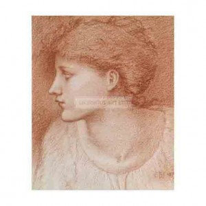 BUR024 Study of a Girl's Head for The Golden Stairs 1879
