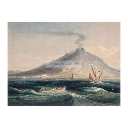 5IT-N1-X1-1800-1   E.Dayes, Mount Vesuvius from the Sea  Dayes, Edward 1763-1804. 'Mount Vesuvius from the Sea', undated. Watercolour over pencil heightened with bodycolour and stopping out, 29 x 38cm. London, Sotheby's. Lot 68, 8/4/1998.