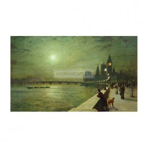 GRI015 Reflections on the Thames, Westminster, 1880