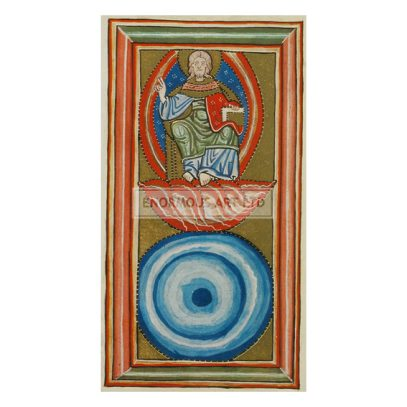 Hildegard von Bingen, Saint and mystic. 1098–1179. / Works: Scivias (Know the ways of the Lord).  The Fear of God (blue circle) and Christ enthroned upon man's faith.  Illum. Manuscript, C12th. Rupertsberg Codex. Transparencies: faksimile. (Original formerly in Wiesbaden, disappeared during World War II).
