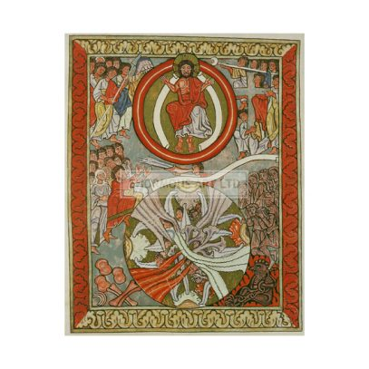 Hildegard von Bingen, Saint and mystic. 1098 – 1179. / Works: Scivias (Know the ways of the Lord).  The Last Judgement.  Illum. Manuscript, C12th. Rupertsberg Codex. Transparencies: faksimile. (Original formerly in Wiesbaden, disappeared during World War II).