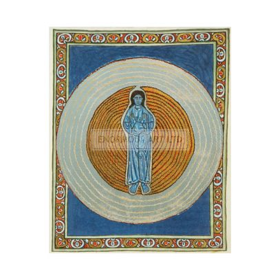 Hildegard von Bingen, Saint and mystic. 1098–1179. / Works: Scivias (Know the ways of the Lord).  The Trinity (Christ in the circles of God and of the Holy Ghost).  Ill. Manuscript, C12th. The Rupertsberg Codex. Transparencies: faksimile. (Original formerly in Wiesbaden, disappeared during World War II).