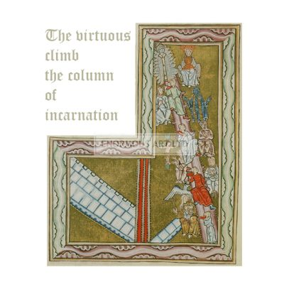 Hildegard von Bingen, Saint and mystic. 1098–1179. / Works: Scivias (Know the ways of the Lord).  The virtues climb the column of incarnation.  Illuminated Manuscript, 12th century. Rupertsberg Codex. Transparencies: faksimile. (Original formerly in Wiesbaden, disappeared during World War II).