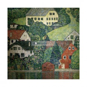 KLI018 Houses in Unterach on the Attersee, 1916