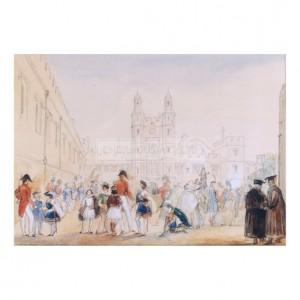 MIL028 The School Yard, Eton, 1846
