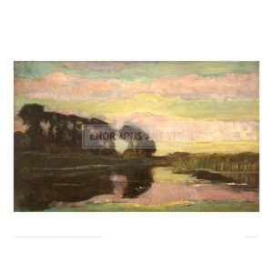 MON061 River landscape with pink and yellow green sky, 1907
