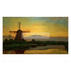 MON086 Oostzijd mill in the evening, 1907/08