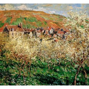 MON214 Blossoming plum trees at Vetheuil 1879