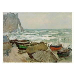 MON255 Fishing Boats on the Beach at Etretat 1884