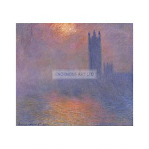 MON312 London Houses of Parliament, Effect of Sun in the Fog 1904