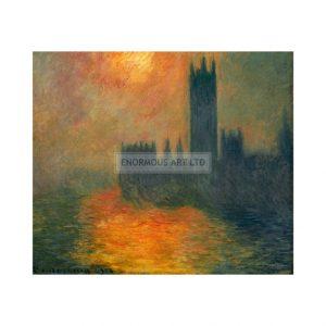 MON315 London Parliament Sunset 1904