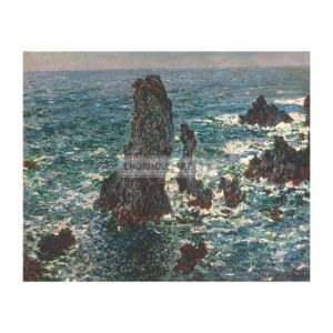 MON347 Rocks at Port Coton Rough Sea 1886