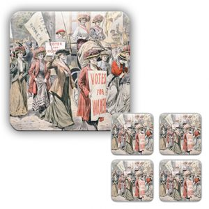 Coaster Set: Suffragettes Upsetting Ballot Boxes