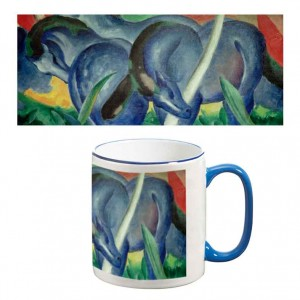 Two-Tone Mug: Large Blue Horses
