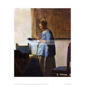 VER013 Woman in Blue Reading A Letter